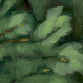 Evergreen painting detail by Alexandria Levin